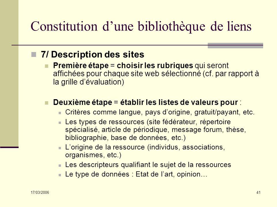 17/03/2006 41 Constitution dune bibliothèque de liens 7/ Description des sites Première étape = choisir les rubriques qui seront affichées pour chaque