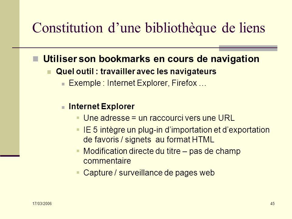 17/03/2006 45 Constitution dune bibliothèque de liens Utiliser son bookmarks en cours de navigation Quel outil : travailler avec les navigateurs Exemp