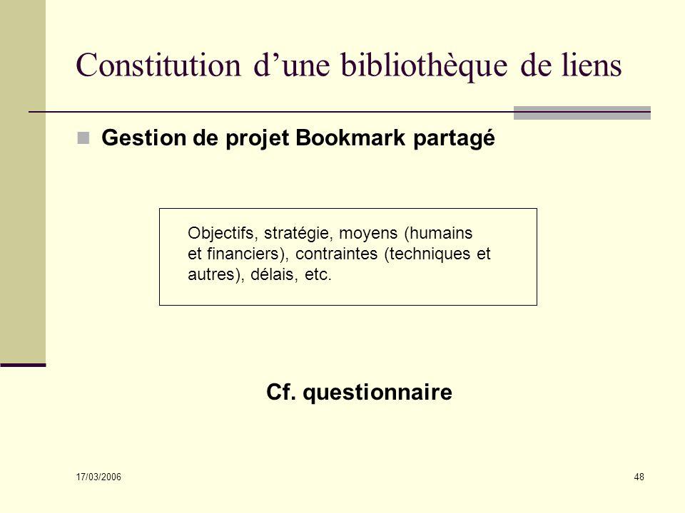 17/03/2006 48 Constitution dune bibliothèque de liens Gestion de projet Bookmark partagé Cf. questionnaire Objectifs, stratégie, moyens (humains et fi