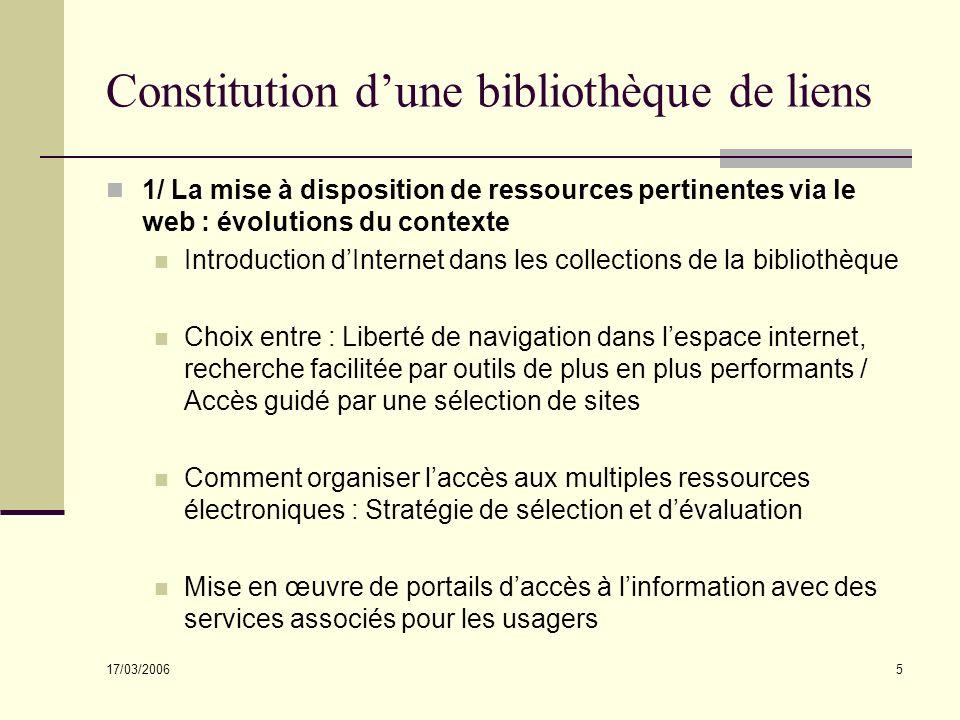 17/03/2006 5 Constitution dune bibliothèque de liens 1/ La mise à disposition de ressources pertinentes via le web : évolutions du contexte Introducti