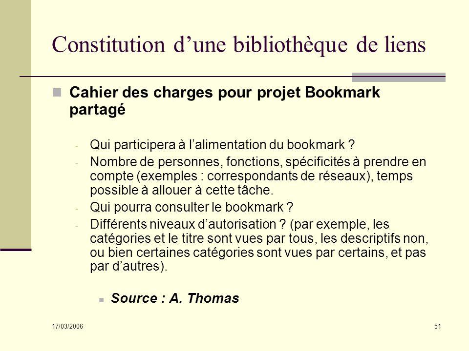 17/03/2006 51 Constitution dune bibliothèque de liens Cahier des charges pour projet Bookmark partagé - Qui participera à lalimentation du bookmark ?