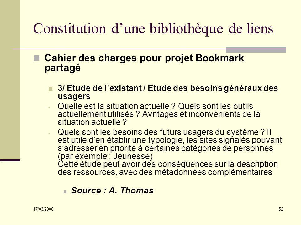 17/03/2006 52 Constitution dune bibliothèque de liens Cahier des charges pour projet Bookmark partagé 3/ Etude de lexistant / Etude des besoins généraux des usagers - Quelle est la situation actuelle .