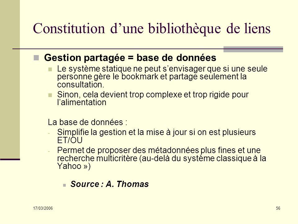 17/03/2006 56 Constitution dune bibliothèque de liens Gestion partagée = base de données Le système statique ne peut senvisager que si une seule personne gère le bookmark et partage seulement la consultation.