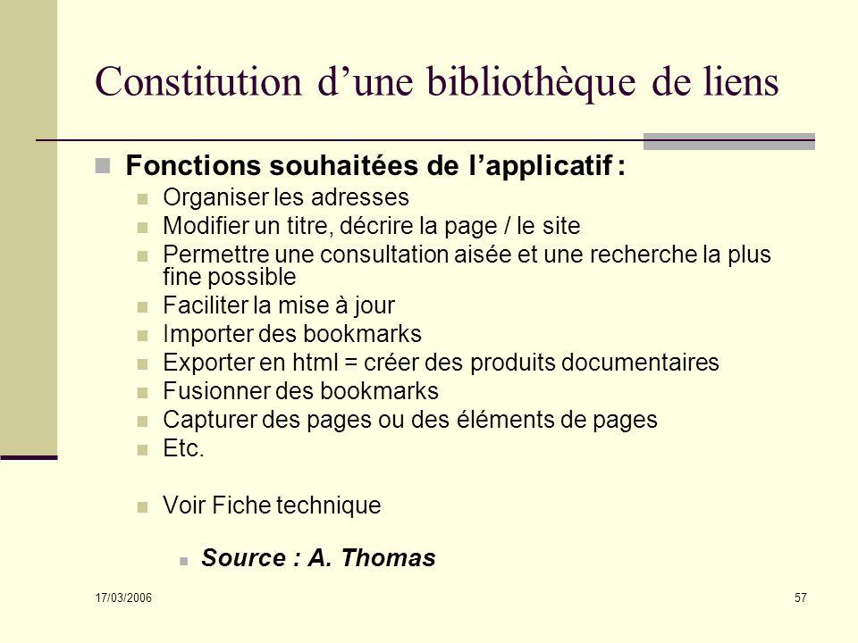17/03/2006 57 Constitution dune bibliothèque de liens Fonctions souhaitées de lapplicatif : Organiser les adresses Modifier un titre, décrire la page