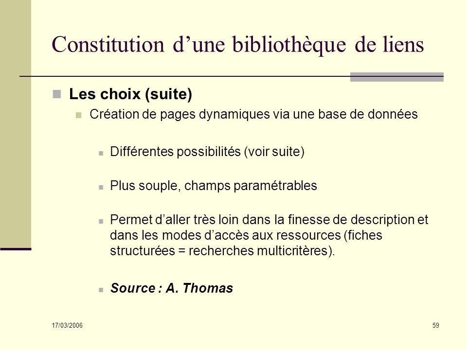 17/03/2006 59 Constitution dune bibliothèque de liens Les choix (suite) Création de pages dynamiques via une base de données Différentes possibilités