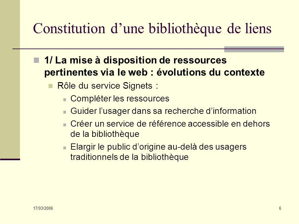 17/03/2006 6 Constitution dune bibliothèque de liens 1/ La mise à disposition de ressources pertinentes via le web : évolutions du contexte Rôle du se