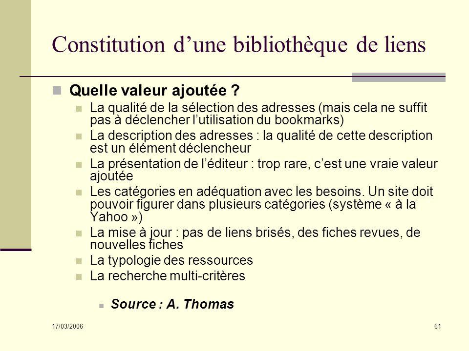 17/03/2006 61 Constitution dune bibliothèque de liens Quelle valeur ajoutée ? La qualité de la sélection des adresses (mais cela ne suffit pas à décle