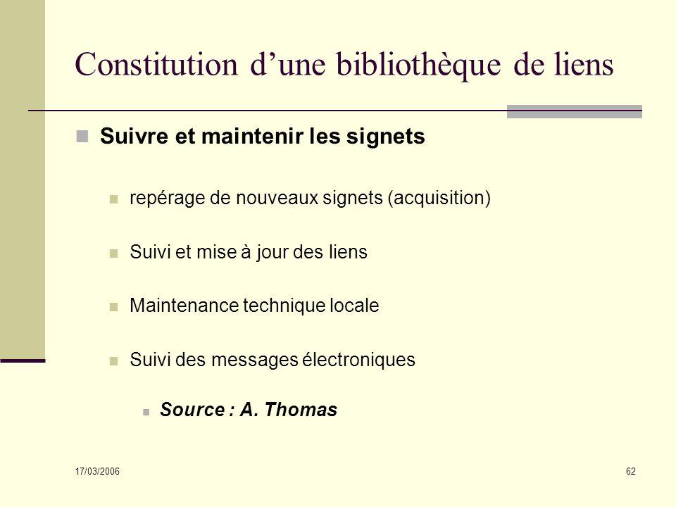 17/03/2006 62 Constitution dune bibliothèque de liens Suivre et maintenir les signets repérage de nouveaux signets (acquisition) Suivi et mise à jour
