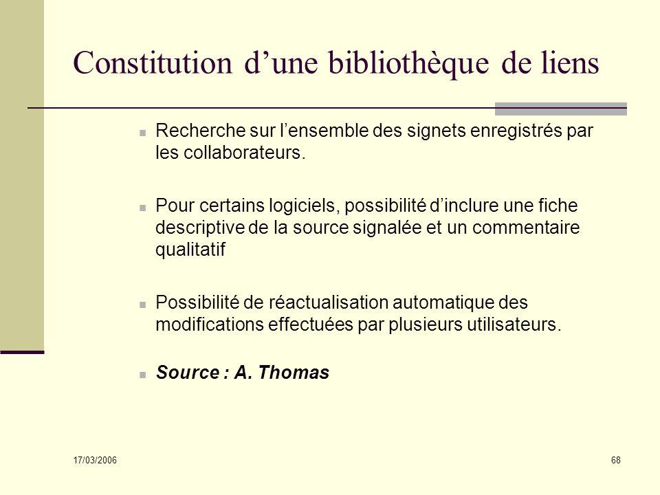 17/03/2006 68 Constitution dune bibliothèque de liens Recherche sur lensemble des signets enregistrés par les collaborateurs. Pour certains logiciels,