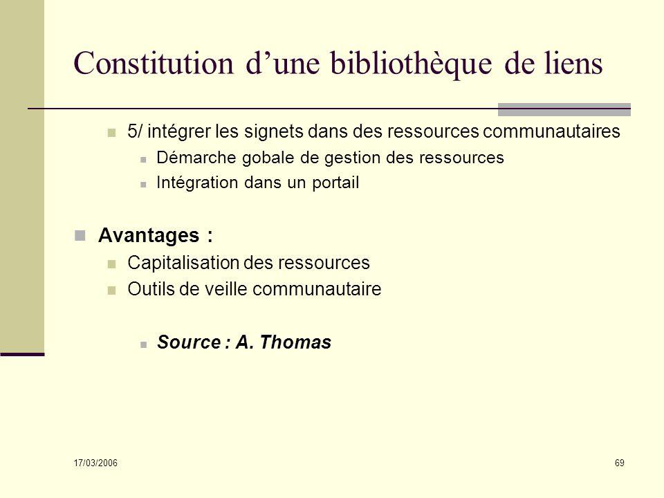 17/03/2006 69 Constitution dune bibliothèque de liens 5/ intégrer les signets dans des ressources communautaires Démarche gobale de gestion des ressou