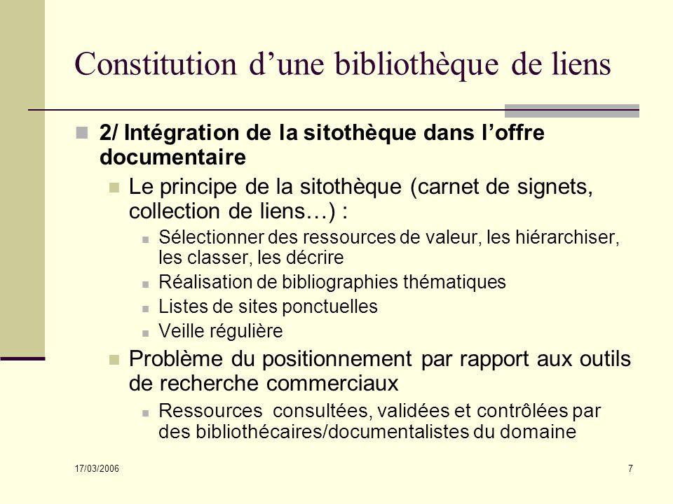 17/03/2006 7 Constitution dune bibliothèque de liens 2/ Intégration de la sitothèque dans loffre documentaire Le principe de la sitothèque (carnet de