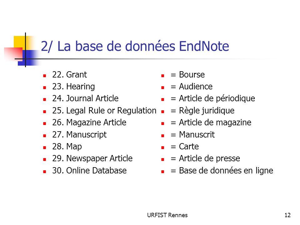 URFIST Rennes12 2/ La base de données EndNote 22. Grant 23. Hearing 24. Journal Article 25. Legal Rule or Regulation 26. Magazine Article 27. Manuscri