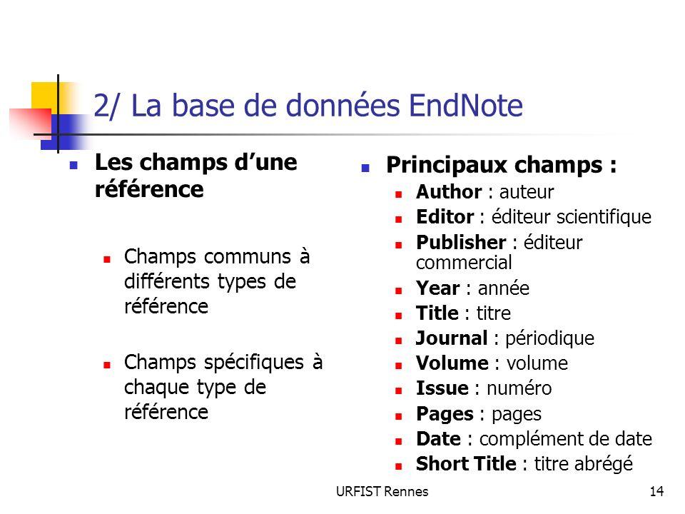 URFIST Rennes14 2/ La base de données EndNote Les champs dune référence Champs communs à différents types de référence Champs spécifiques à chaque typ