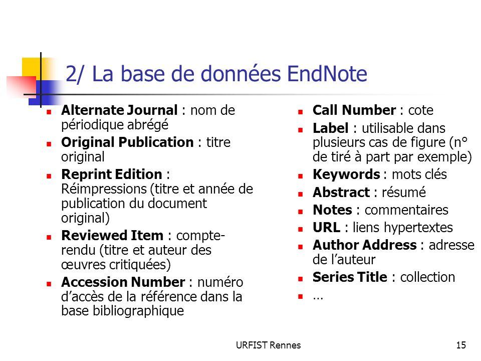 URFIST Rennes15 2/ La base de données EndNote Alternate Journal : nom de périodique abrégé Original Publication : titre original Reprint Edition : Réi