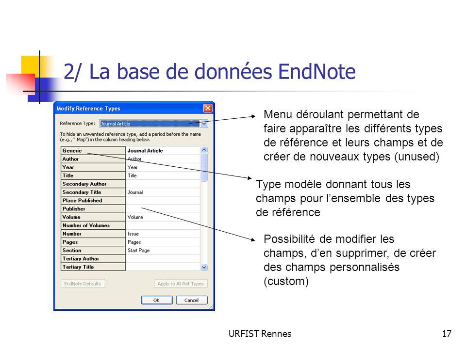 URFIST Rennes17 2/ La base de données EndNote Menu déroulant permettant de faire apparaître les différents types de référence et leurs champs et de cr