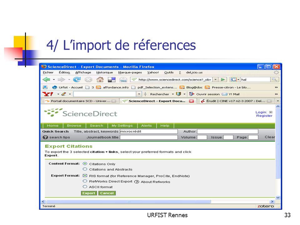 URFIST Rennes33 4/ Limport de réferences