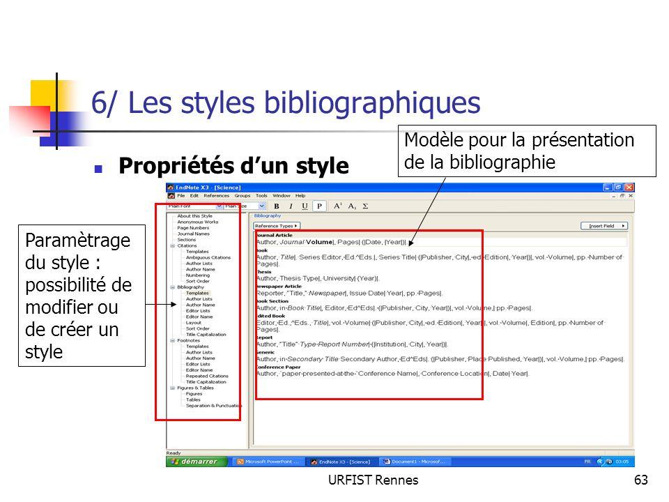 URFIST Rennes63 6/ Les styles bibliographiques Propriétés dun style Paramètrage du style : possibilité de modifier ou de créer un style Modèle pour la