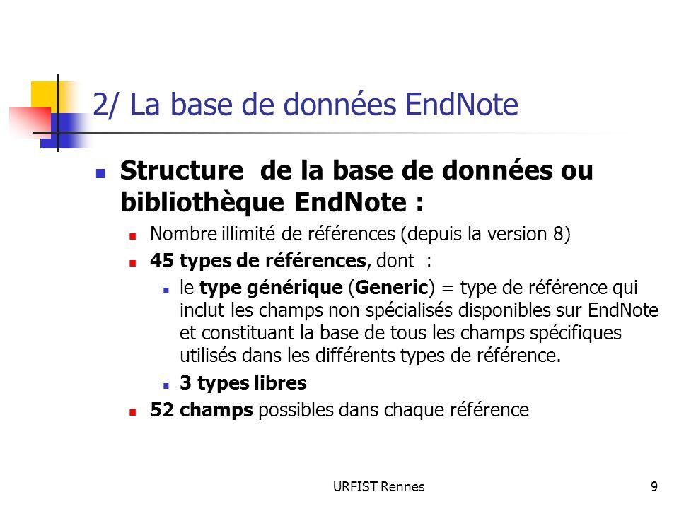 URFIST Rennes9 2/ La base de données EndNote Structure de la base de données ou bibliothèque EndNote : Nombre illimité de références (depuis la versio