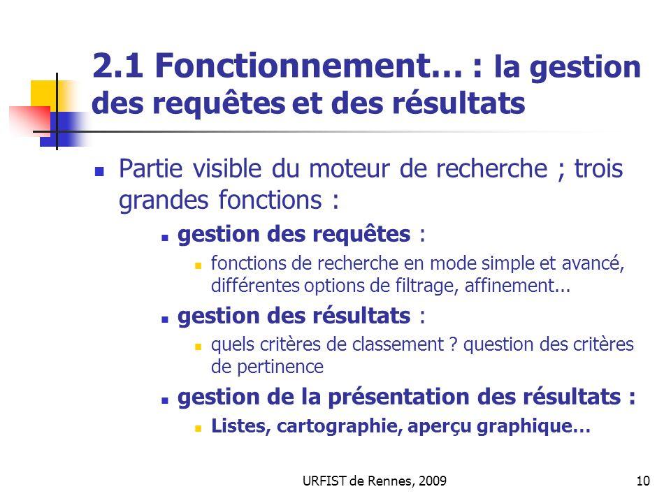 URFIST de Rennes, 200910 2.1 Fonctionnement… : la gestion des requêtes et des résultats Partie visible du moteur de recherche ; trois grandes fonction