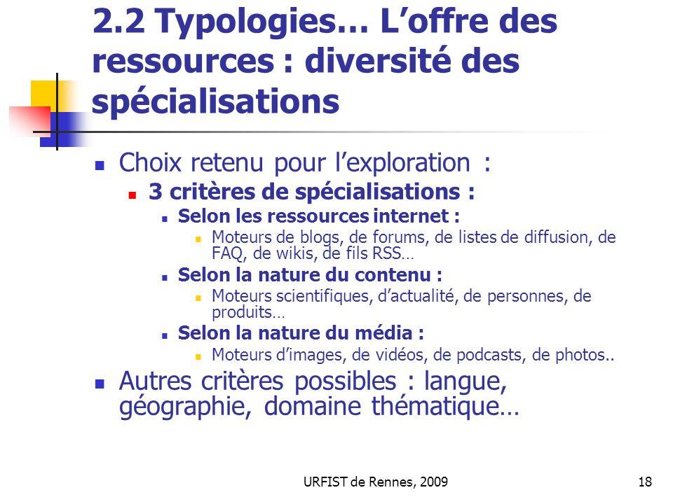 URFIST de Rennes, 200918 2.2 Typologies… Loffre des ressources : diversité des spécialisations Choix retenu pour lexploration : 3 critères de spéciali