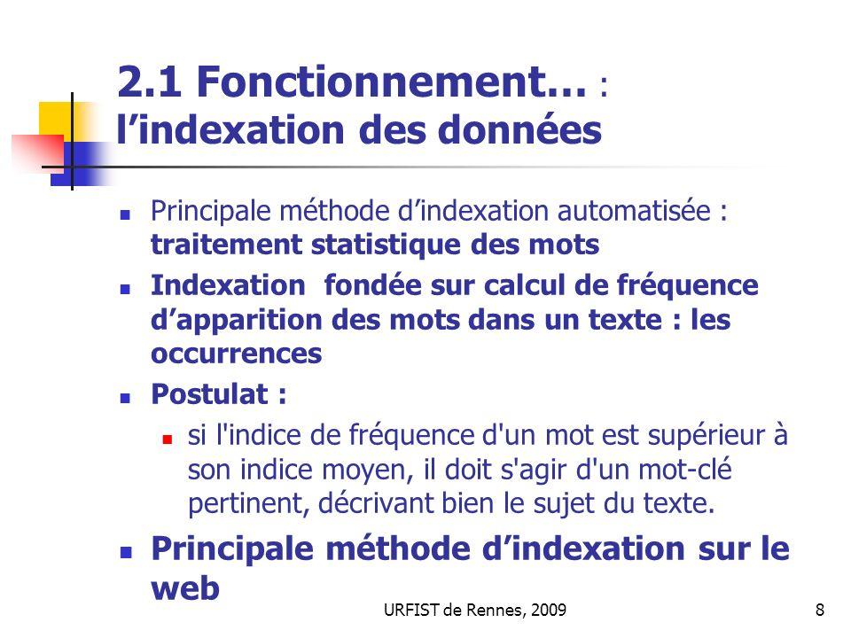 URFIST de Rennes, 20098 2.1 Fonctionnement… : lindexation des données Principale méthode dindexation automatisée : traitement statistique des mots Ind