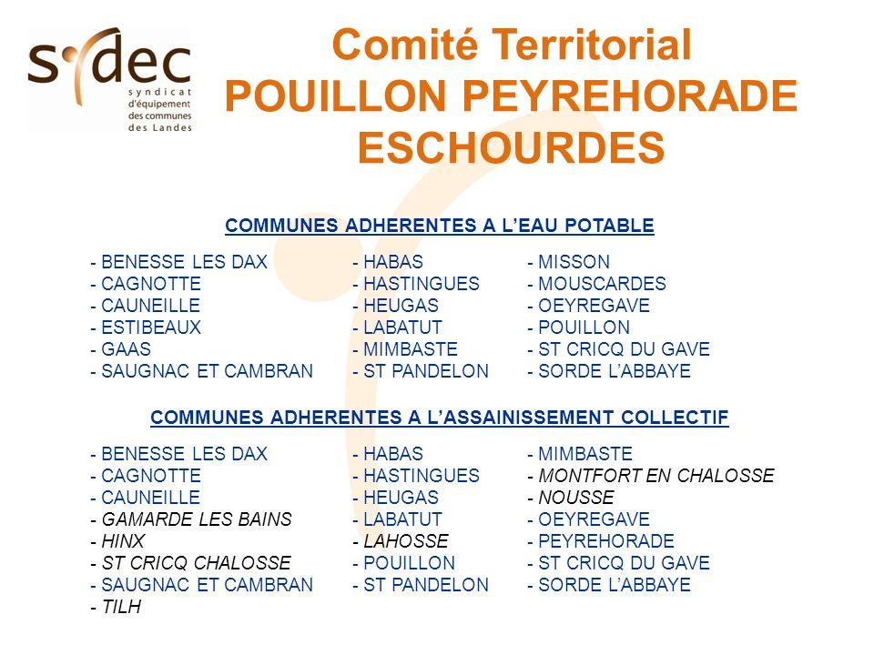 Comité Territorial POUILLON PEYREHORADE ESCHOURDES COMMUNES ADHERENTES A LEAU POTABLE - BENESSE LES DAX- HABAS- MISSON - CAGNOTTE- HASTINGUES- MOUSCAR