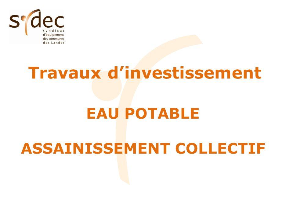 Travaux dinvestissement EAU POTABLE ASSAINISSEMENT COLLECTIF