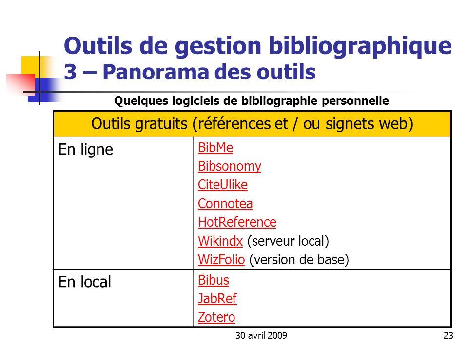30 avril 200923 Outils de gestion bibliographique 3 – Panorama des outils Outils gratuits (références et / ou signets web) En ligne BibMe Bibsonomy Ci