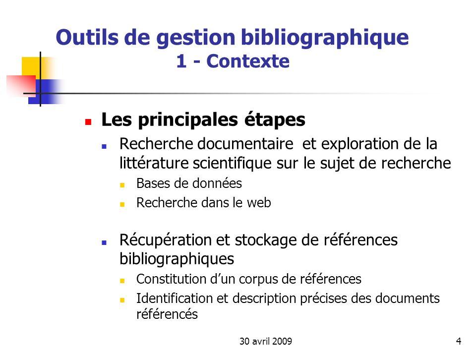 30 avril 200925 Outils de gestion bibliographique 3 – Panorama des outils Evaluations comparatives « Comparison of reference management software » sur Wikipedia http://en.wikipedia.org/wiki/Comparison_of_reference _management_software Lévaluation comparative de Francesco DellOrso : http://www.burioni.it/forum/ors-bfs/index.html http://www.burioni.it/forum/ors-bfs/index.html La page de ressources de Fourmi (URFIST de Paris) sur les logiciels de gestion de références bibliographiques http://www.ext.upmc.fr/urfist/fourmi/fourmibiblio.htm http://www.ext.upmc.fr/urfist/fourmi/fourmibiblio.htm