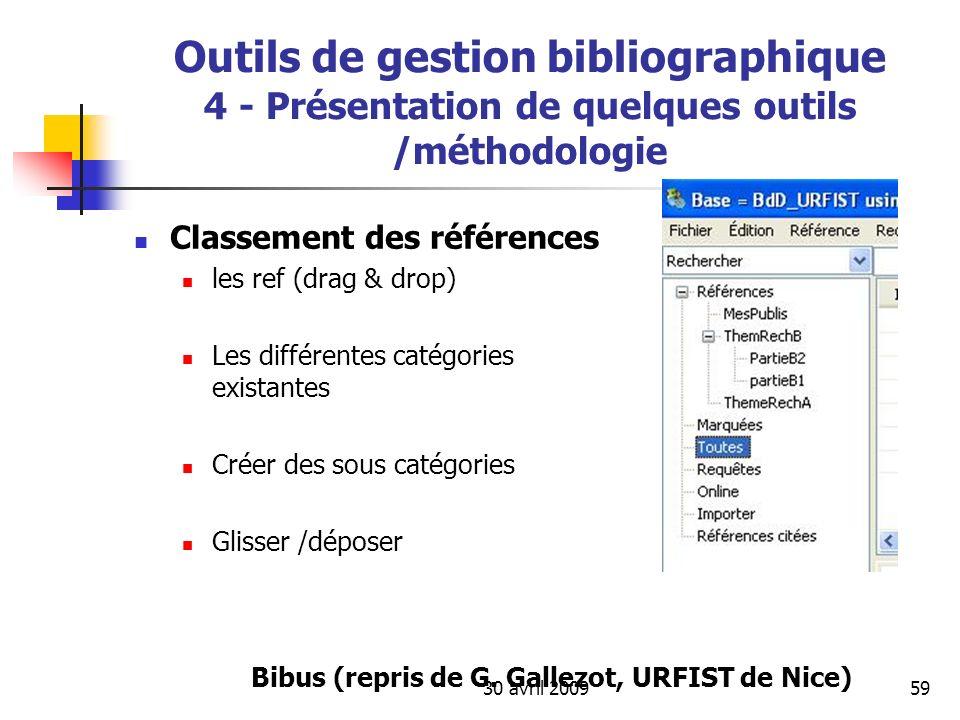 30 avril 200959 Outils de gestion bibliographique 4 - Présentation de quelques outils /méthodologie Classement des références les ref (drag & drop) Le