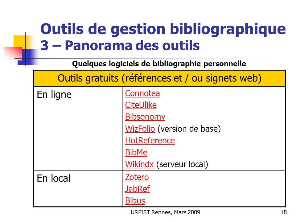 URFIST Rennes, Mars 200918 Outils de gestion bibliographique 3 – Panorama des outils Outils gratuits (références et / ou signets web) En ligne Connote