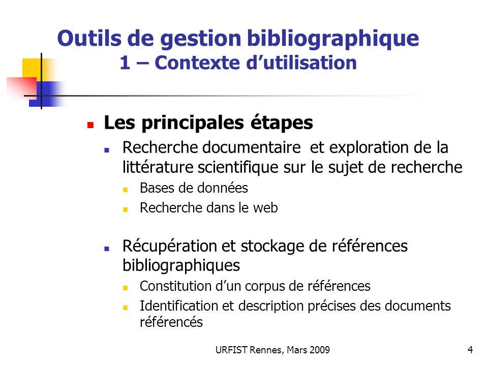 URFIST Rennes, Mars 20094 Outils de gestion bibliographique 1 – Contexte dutilisation Les principales étapes Recherche documentaire et exploration de