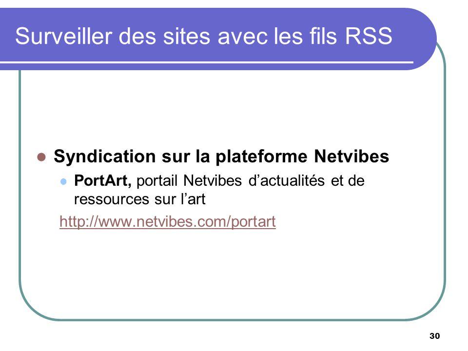 30 Surveiller des sites avec les fils RSS Syndication sur la plateforme Netvibes PortArt, portail Netvibes dactualités et de ressources sur lart http://www.netvibes.com/portart