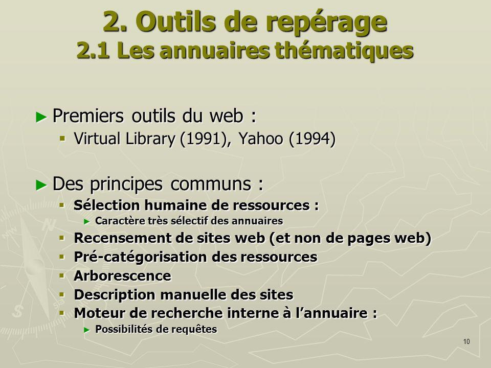 10 2. Outils de repérage 2.1 Les annuaires thématiques Premiers outils du web : Premiers outils du web : Virtual Library (1991), Yahoo (1994) Virtual