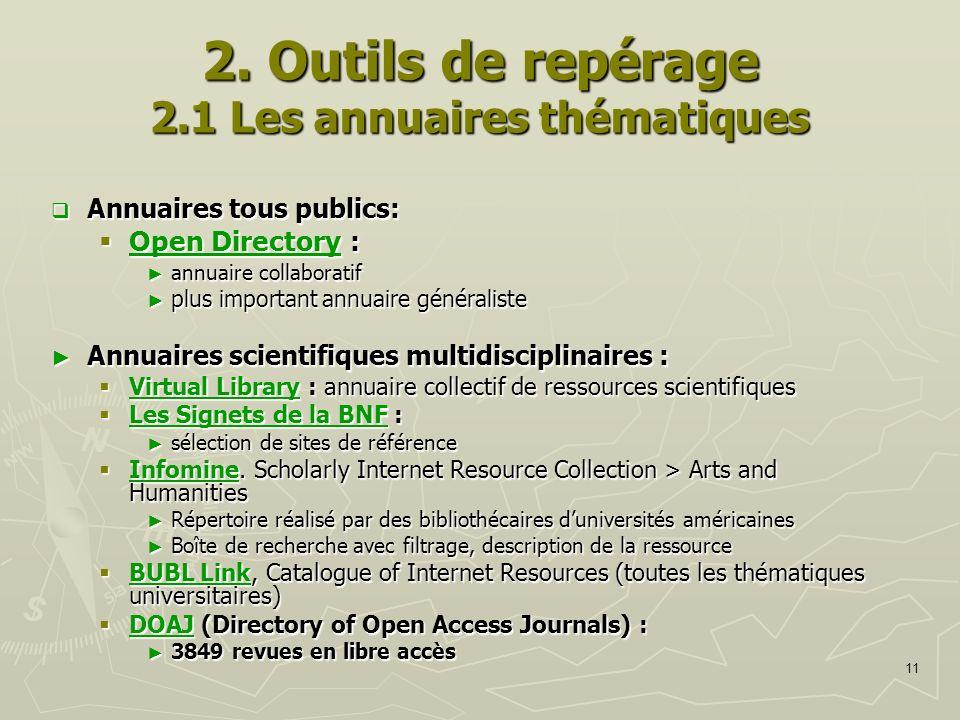 11 2. Outils de repérage 2.1 Les annuaires thématiques Annuaires tous publics: Annuaires tous publics: Open Directory : Open Directory : Open Director