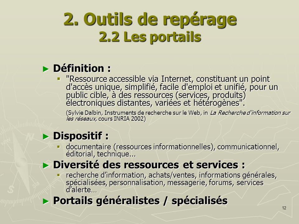 12 2. Outils de repérage 2.2 Les portails Définition : Définition :