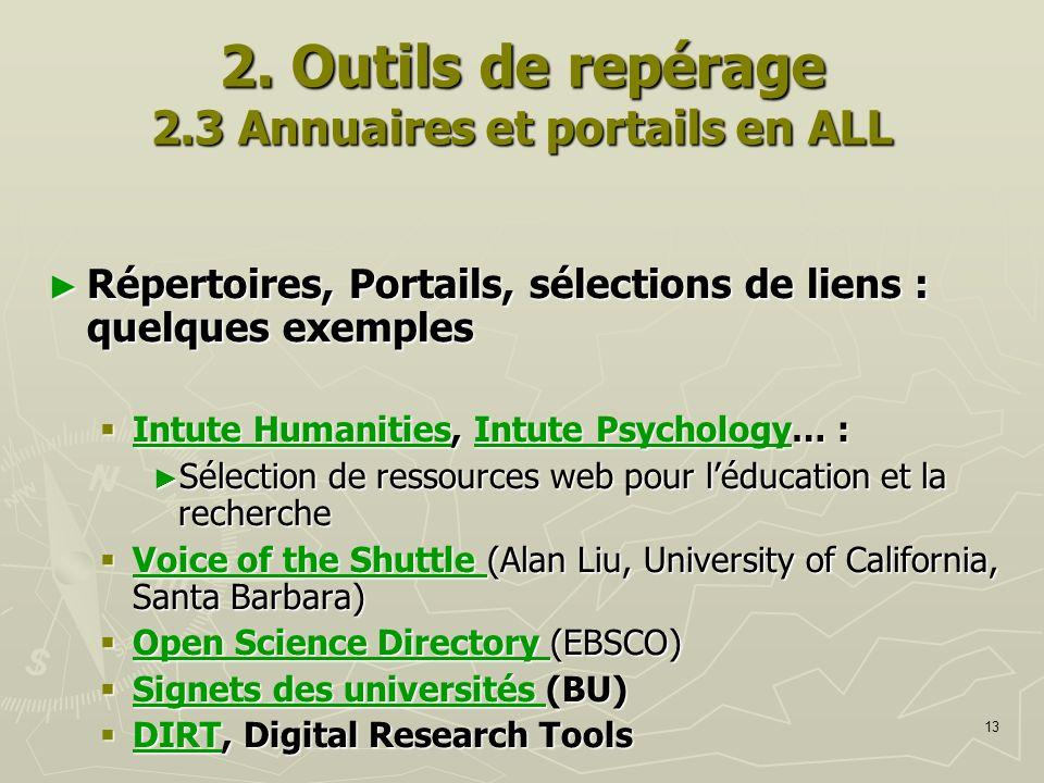 13 2. Outils de repérage 2.3 Annuaires et portails en ALL Répertoires, Portails, sélections de liens : quelques exemples Répertoires, Portails, sélect