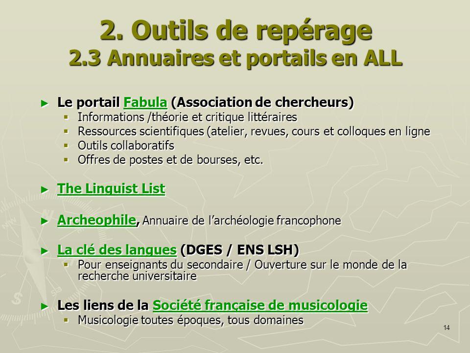 14 2. Outils de repérage 2.3 Annuaires et portails en ALL Le portail Fabula (Association de chercheurs) Le portail Fabula (Association de chercheurs)F