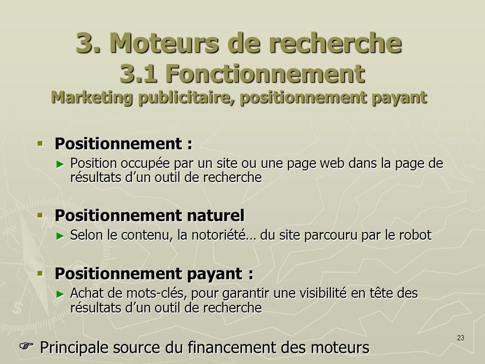 23 3. Moteurs de recherche 3.1 Fonctionnement Marketing publicitaire, positionnement payant Positionnement : Positionnement : Position occupée par un