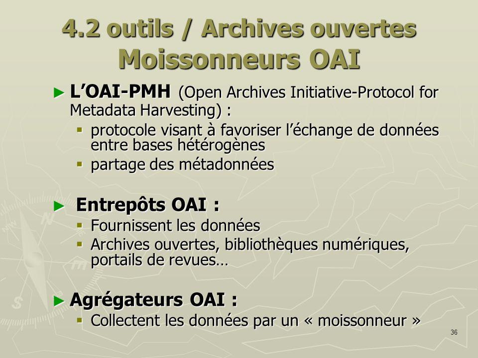 36 4.2 outils / Archives ouvertes Moissonneurs OAI LOAI-PMH (Open Archives Initiative-Protocol for Metadata Harvesting) : LOAI-PMH (Open Archives Init