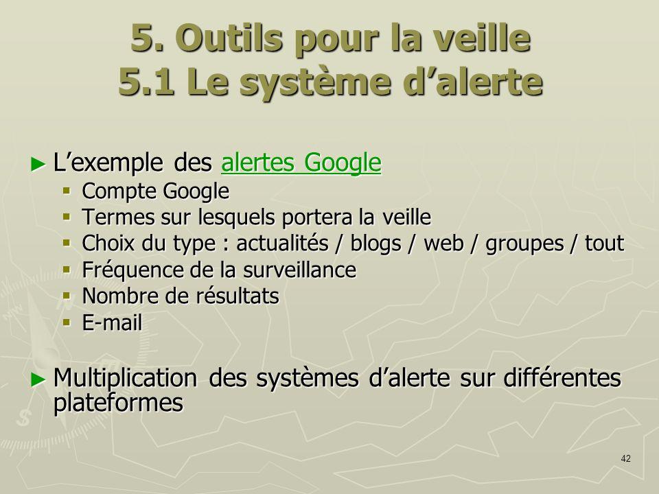 42 5. Outils pour la veille 5.1 Le système dalerte Lexemple des alertes Google Lexemple des alertes Googlealertes Googlealertes Google Compte Google C
