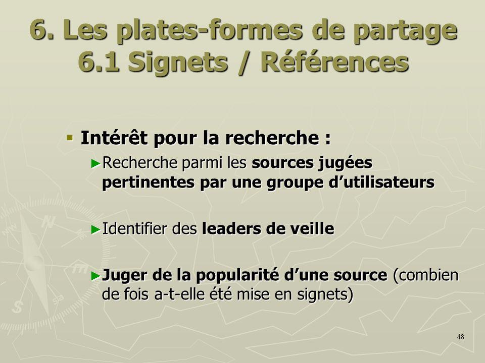 48 6. Les plates-formes de partage 6.1 Signets / Références Intérêt pour la recherche : Intérêt pour la recherche : Recherche parmi les sources jugées