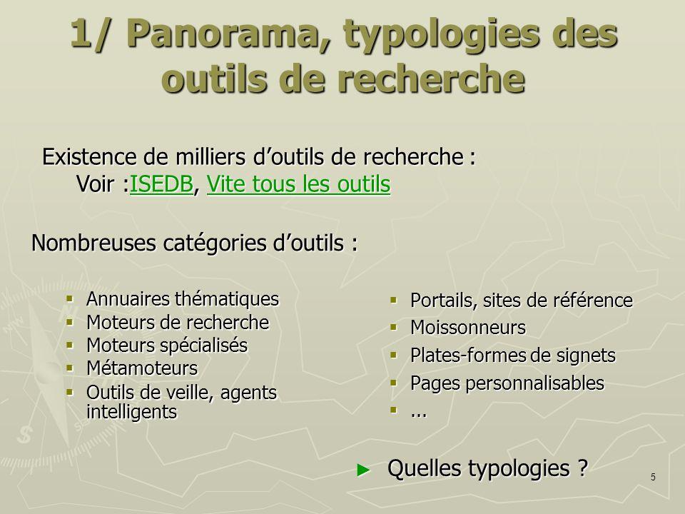 5 1/ Panorama, typologies des outils de recherche Nombreuses catégories doutils : Annuaires thématiques Annuaires thématiques Moteurs de recherche Mot