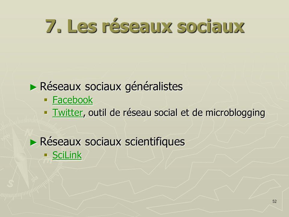 52 7. Les réseaux sociaux Réseaux sociaux généralistes Réseaux sociaux généralistes Facebook Facebook Facebook Twitter, outil de réseau social et de m