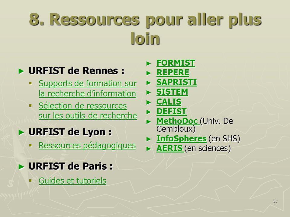 53 8. Ressources pour aller plus loin URFIST de Rennes : URFIST de Rennes : Supports de formation sur la recherche dinformation Supports de formation