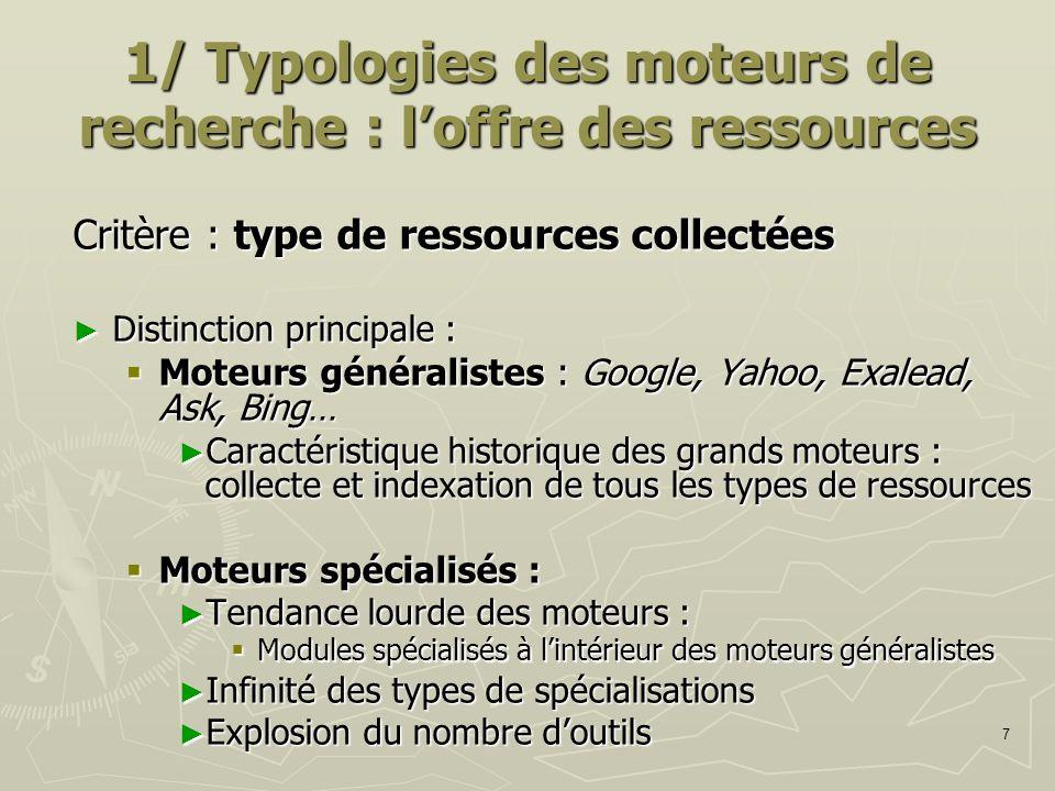 7 1/ Typologies des moteurs de recherche : loffre des ressources Critère : type de ressources collectées Distinction principale : Distinction principa