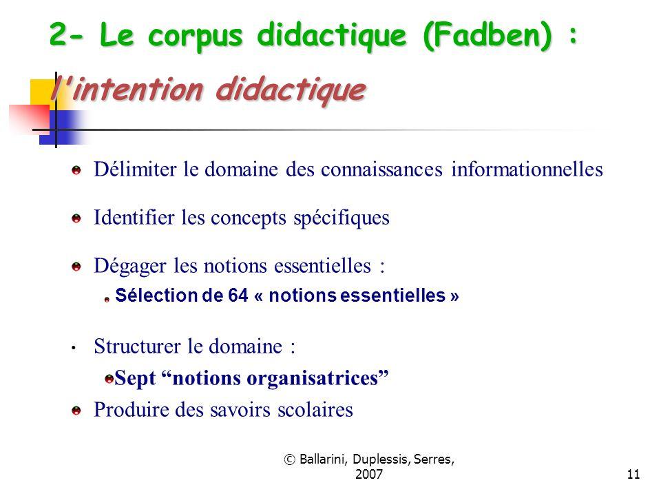 © Ballarini, Duplessis, Serres, 200711 2- Le corpus didactique (Fadben) : l'intention didactique Délimiter le domaine des connaissances informationnel