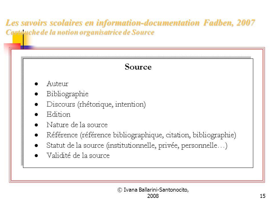 © Ivana Ballarini-Santonocito, 200815 Les savoirs scolaires en information-documentation Fadben, 2007 Cartouche de la notion organisatrice de Source