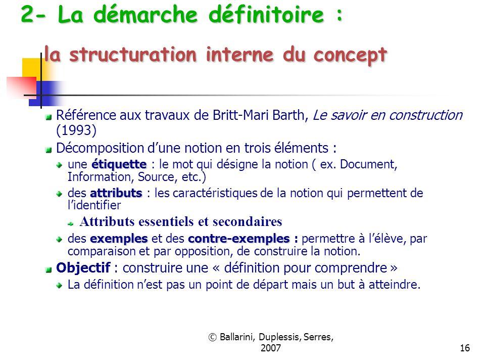 © Ballarini, Duplessis, Serres, 200716 2- La démarche définitoire : la structuration interne du concept Référence aux travaux de Britt-Mari Barth, Le