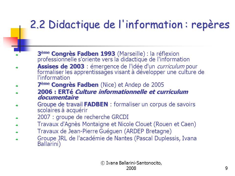 © Ivana Ballarini-Santonocito, 20089 2.2 Didactique de l'information : repères 3 ème Congrès Fadben 1993 3 ème Congrès Fadben 1993 (Marseille) : la ré